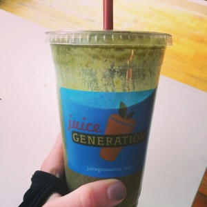Juice Generation's amazing greens bowl made into a smoothie was an awesome treat post long run.