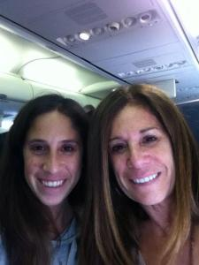 Airplane selfie with mom